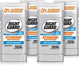 Right Guard Xtreme Defense Aluminum-Free Deodorant Invisible Solid Stick, Arctic Refresh, 3 Ounce (Pack of 4)
