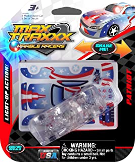 Max Traxxx Award Winning Patriot Light Up Marble Racer Gravity Drive 1:64 Scale Car