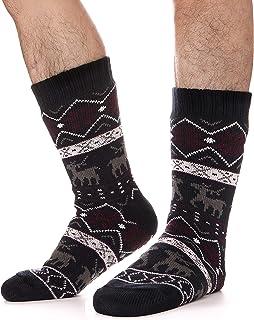 Mens Fuzzy Slipper Socks Thick Heavy Fleece lined Christmas Stockings Fluffy Winter Socks