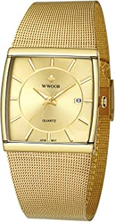 Wwoor Mens Thin Watch Business Casual Stainless Steel Mesh Band Analog Quartz Date Dress Watch Waterproof