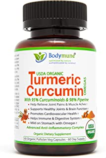 Organic Turmeric Curcumin Supplement | Organic Turmeric Capsules | Best Organic Turmeric Supplement with Black Pepper | Turmeric with Piperine 95% Curcuminoids Ginger Amla Goji & Omega - 60 Day Supply