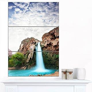 Designart Amazing Waterfall under Cloudy Sky-Oversized Landscape Glossy Metal Wall Art, 28'' Hx36'' Wx1'' D 3P