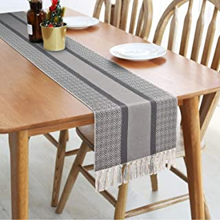 Rustic Woven Table Runners with Fringe, Gray Farmhouse Table Runner in Boho Style for Dining, Summer, Catering Events, Wed...