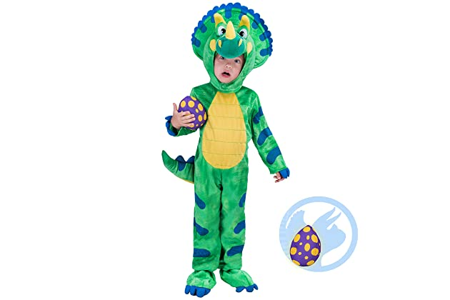 Spooktacular Creations Triceratops Deluxe Kids Dinosaur Costume For  Halloween Dinosaur Dress Up Party Green