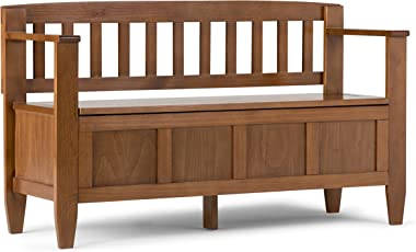 SIMPLIHOME Brooklyn SOLID WOOD 48 inch Wide Entryway Storage Bench with Safety Hinge, Multifunctional Contemporary inMedium S