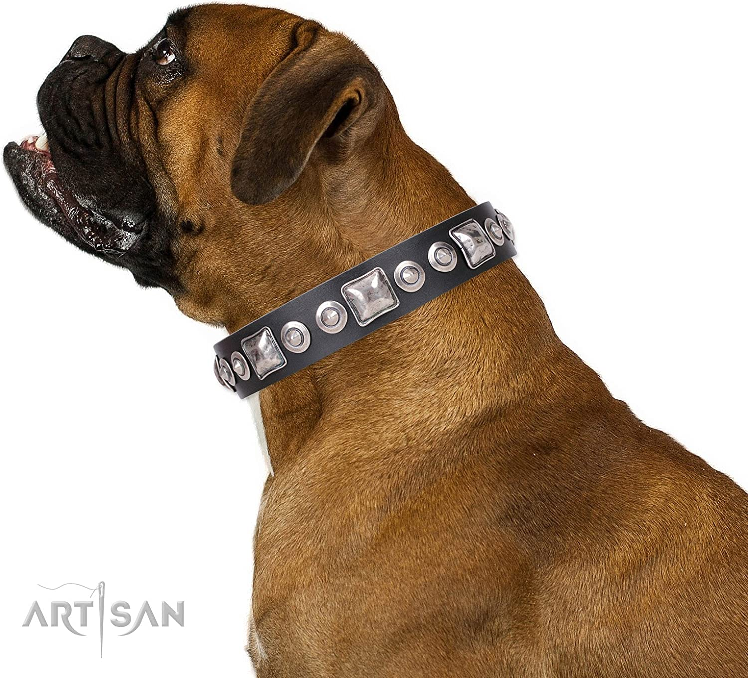 FDT Artisan 16 inch Black Leather Dog Collar with Old Silver Like Decorations Eternal Beauty  1 1 2 inch (40 mm) Wide