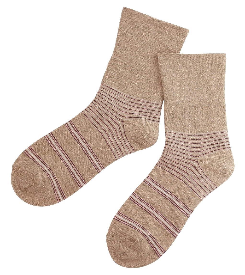に対して助けになる日常的に温むすび かかとケア靴下 【足うら美人しめつけないタイプ 22~24cm ボーダー柄 モカ】 角質ケア 保湿 がさがさ つるつる ひび割れ うるおい 新潟県自社工場製