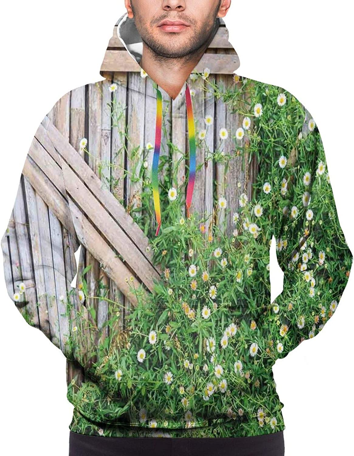 Men's Hoodies Sweatshirts,Bamboo Design with Soft Colors Chinese Culture Inspired Artwork Eastern Pattern