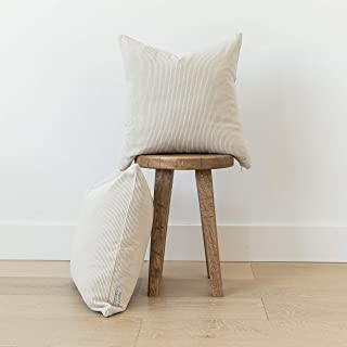Woven Nook Decorative Corduroy Throw Pillow Covers ONLY Set of 2 18x18'' and 22x22'' for Couch, Sofa, or Bed Modern Quality Design Corduroy (22'' x 22'', Oatmeal)