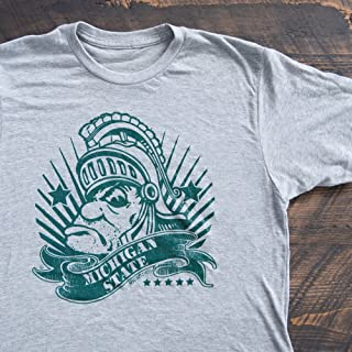 Nudge Printing Michigan State Gruff Sparty Money MSU Super Soft T-Shirt - Heather Light Grey