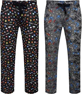 Mens Pack of 2 Retro Games Lounge Pants   Game Over/Controller Designs   100% Cotton Sleep/Lounge Wear   Gamer Gift Idea