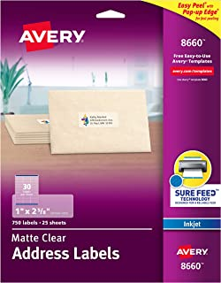 avery clear mailing labels inkjet