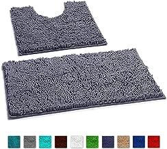 LuxUrux Bathroom Rugs Non Slip Super Thick Chenille Luxury Bath Mat Contour Set, Soft Plush Shower Rug +Toilet Mat.1'' Microfiber Shaggy Absorbent Machine Washable Bath Mats. Curved Set, Dark Gray