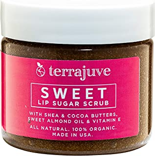 Sugar Lip Scrubs Treatment by Terrajuve, Lips Scrub Exfoliator and Moisturizer, with Shea and Cocoa Butter, Raw, Organic, Pure, All Natural, Made in USA