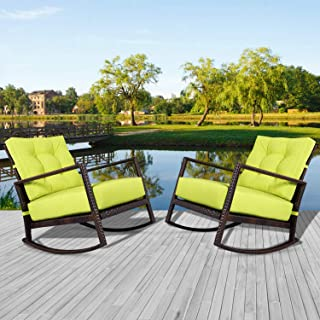 Incbruce Patio Wicker Furniture Rocking Chair Sets 2-Piece, Smooth Gliding Rocker Armchair with Breathable Green Lime Green Cushions
