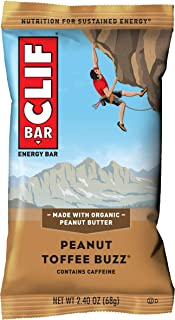 CLIF BAR - Energy Bars - Peanut Toffee Buzz - With Caffeine (2.4 Ounce Protein Bars, 12 Count)