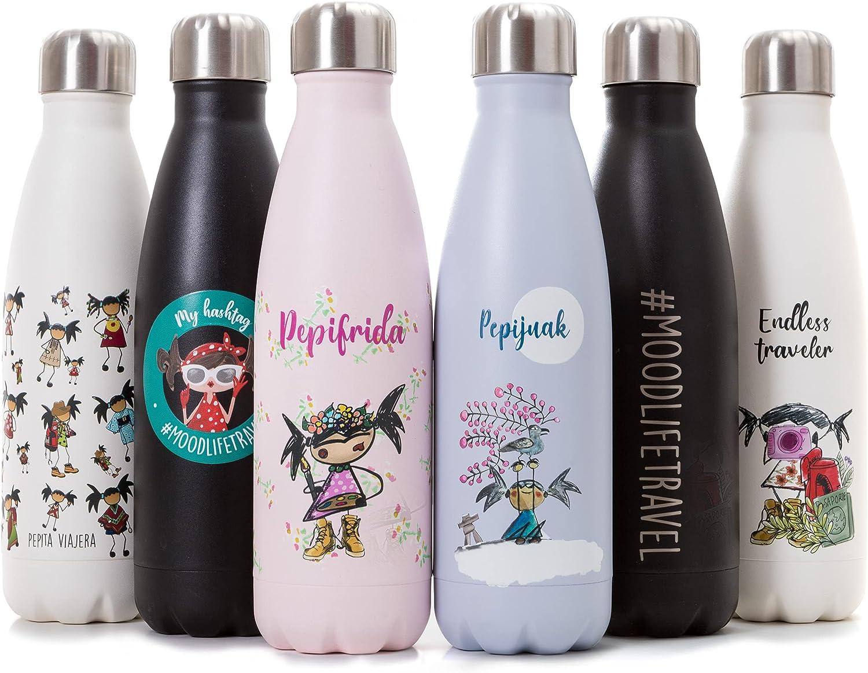 WOOPY Pepita Viajera Botella Térmica de Acero Inoxidable para Agua, Personalizada, Cantimplora, Termo con Doble Aislamiento, Botellas de Frío/Caliente, Sin BPA, Reutilizable 500ml, Niños y adultos