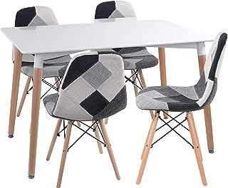 Noorsk Design Lote formado por una Mesa de Comedor Kiel 120 + 4 sillas Tower Patchwork Gris
