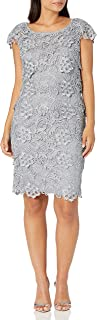 Emma Street Women's Lace Tiered Short Dress with Cap Sleeve
