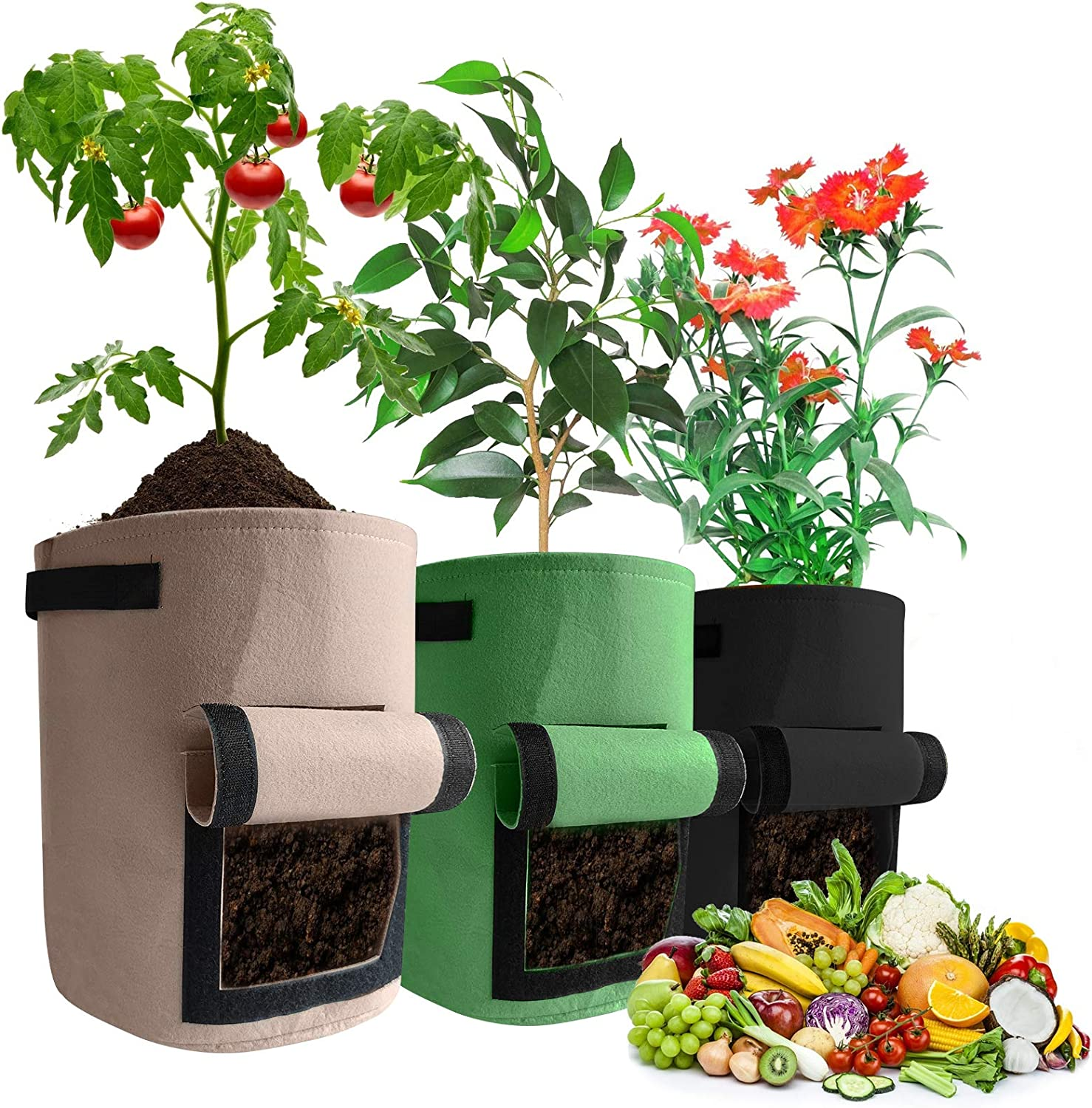 Grow Bags 3 Pack 7 Gallon 3 Color NonWoven Aeration Fabric Pots with Handles and Access Flap, Garden Vegetable Planting Outdoor Breathable Bags for Potato Tomato and Fruits (7 Gallon)