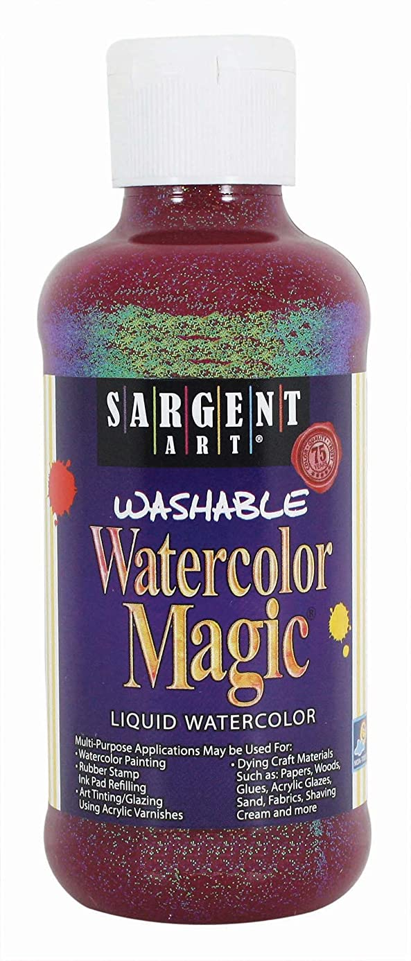 Sargent Art 22-9020 8-Ounce Glitter Watercolor Magic, Red