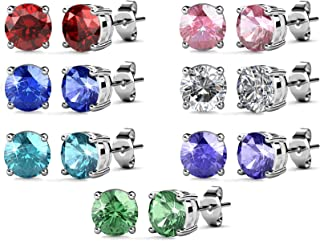Womens Fashion Jewelry Stud Earrings Set 18K Whit-Gold Plated with Crystals from Swarovski