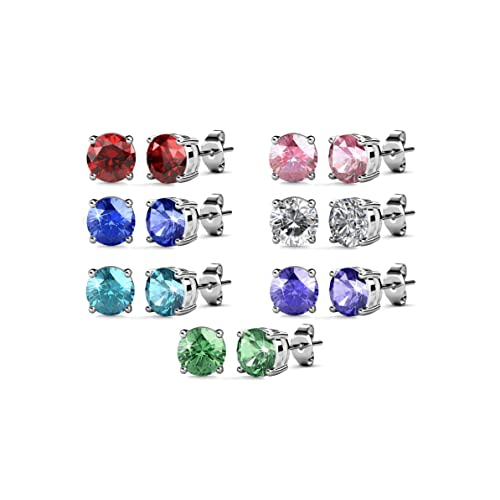 ba5445fdf121 Amazon.com  R-timer Womens Crystal Dangle Stud Earrings Swarovski Elements  Jewelry Set of 7 Pairs (Dangle Earrings)  Jewelry
