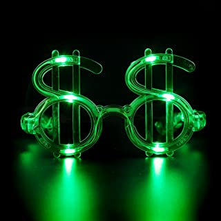 Fun Central LED Green Dollar Shades - Light Up Novelty Sunglasses for St. Partick's Day Parties & Events