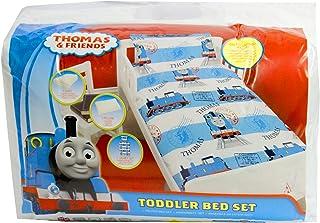 Cartoon Characters Brands :Junior Bed Set,4 Piece Bedding Bundle Quilt,Pillow Pillowcase,Duvet Cover (Thomas The Tank Engine)