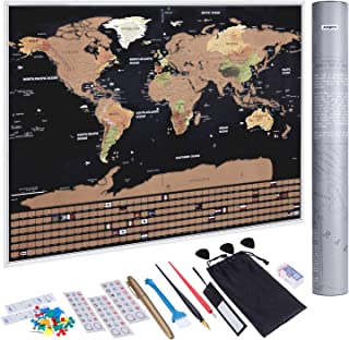 Anpro Scratch Off World Map, Scratchable World Map – Poster Travel Map – with US States and Country Flags Abundant Accessories Kit and Gift Tube for Travelers (82.5x59.5cm)