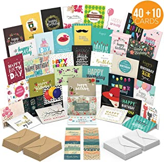 Birthday Cards Assortment with 40 Unique Designs – Blank Inside - Premium Quality Birthday Cards Bulk Box Set With Envelopes - A Happy Birthday Card For Everyone – Perfect For Employees