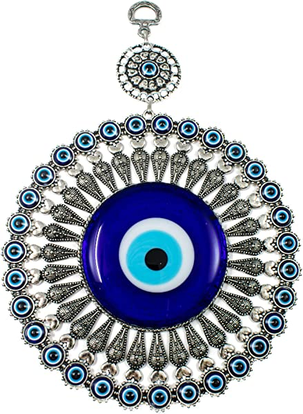 EA Gift Global Big Glass Blue Evil Eye Bead Nazar With Heart Quality Amulet Wall Hanging Decoration Ornament Home Blessing Good Luck And Protection Charm Alternative 03