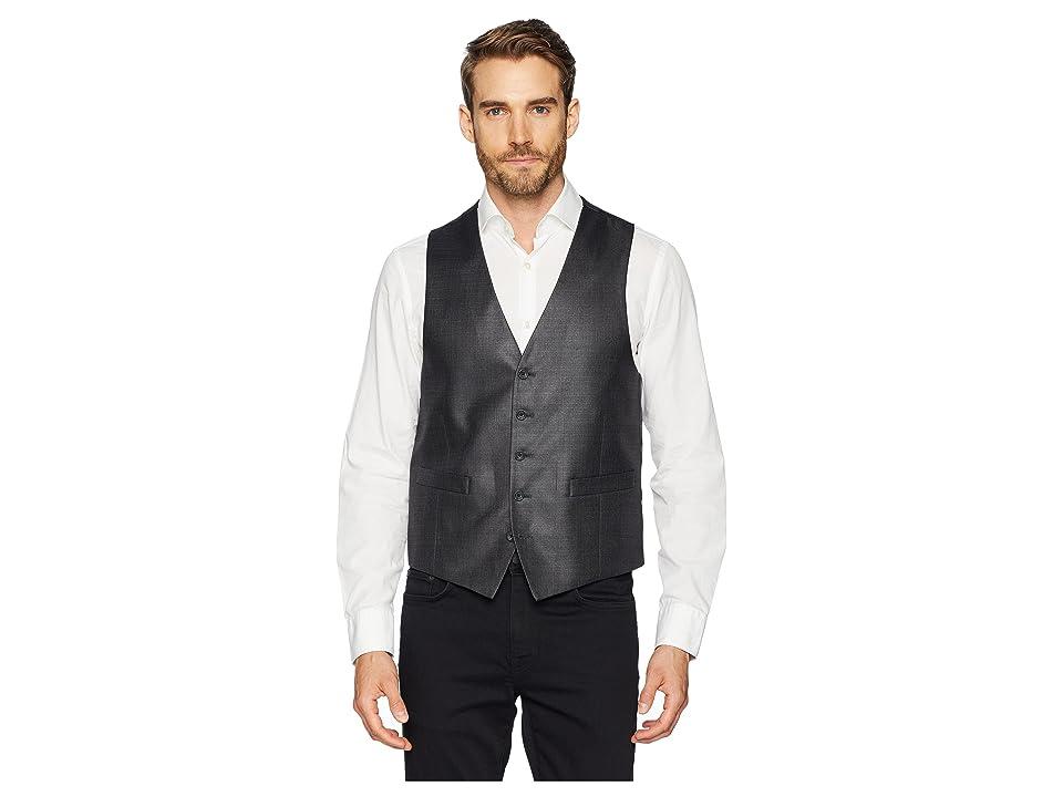 Kenneth Cole Reaction Techni-Cole Stretch Suit Separate Vest (Gunmetal Basket Weave) Men