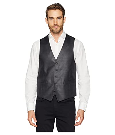 Kenneth Cole Reaction Techni-Cole Stretch Suit Separate Vest (Gunmetal Basket Weave) Men