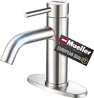 شیر سینک ظرفشویی حمام مولر ممتاز ، یک دسته با مونتاژ تخلیه ، صفحه عرشه برای نصب 1 سوراخ و 3 سوراخ ، پایان نیکل مسواک زده شده از فولاد ضد زنگ ، خطوط تأمین مونتاژ شده