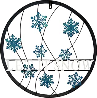 """BACKYARD EXPRESSIONS PATIO · HOME · GARDEN 906720 21.5"""" Let it Snow Wheel Wall Hanging, Blue and White"""