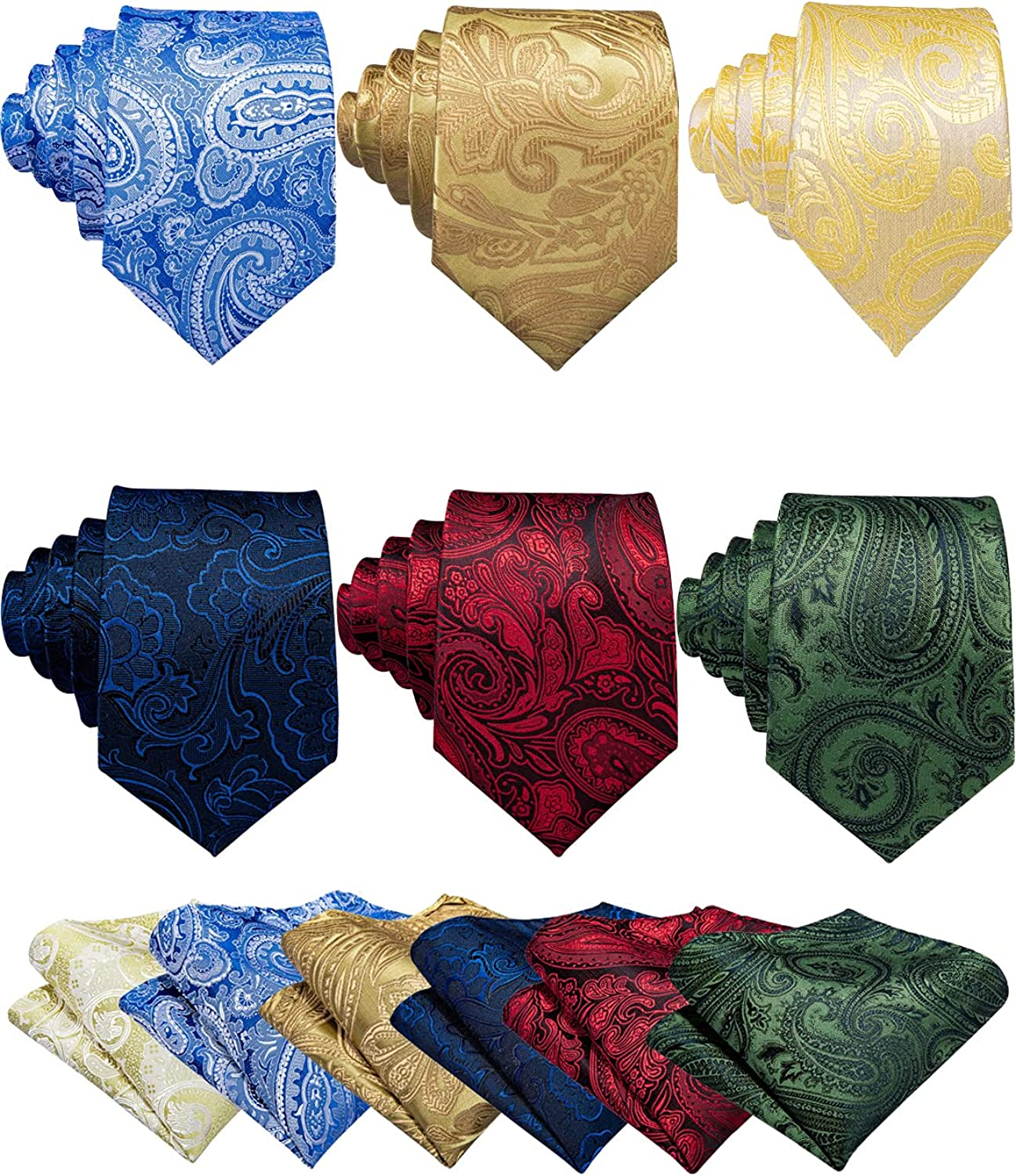 Barry.Wang Men Paisley Tie Set with Pocket Square Cufflink Silk Woven Necktie Formal Wedding Party 6PCS