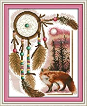 CaptainCrafts New Stamped Cross Stitch Kits Preprinted Pattern Counted Embroidery Starter Kits for Beginner Kids and Adults - Totem Fox - DIY Artwork Needlecrafts (STAMPED)