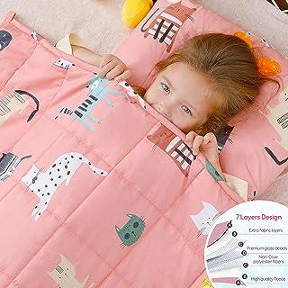 Anjee Kinder-Gewichtsdecke, 100% natürliche Baumwolle, Schwere Decke für Kinder und Jugendliche, 4,5kg 100x150cm, Pinke Katze