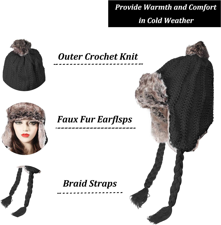 ZLYC Women Winter Earflap Hat Trapper Hat Knit Peruvian Beanie Hat Bomber Hats