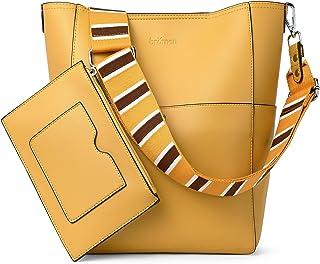 Handtasche Damen Schultertasche Umhängetasche Groß Shopper Designer Damen Tasche Beuteltasche mit Geldbörse Gelb