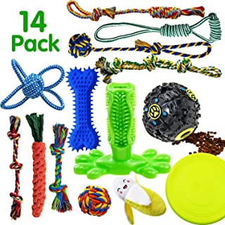 SHARLOVY Dog Chew Toys for Puppies Teething, 14 Pack Natural Cotton Dog Rope Toys with Ball Knot Tug of War Dog Toy