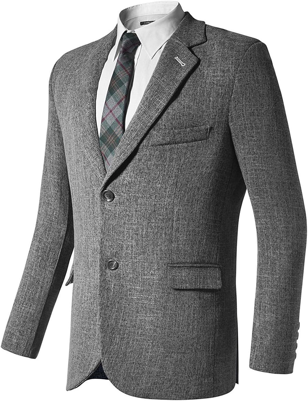 Hanayome Men's Blazer Two Button Suit Grey Plaid Jacket Donegal Sportcoat XL