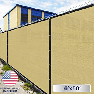 Windscreen4less Heavy Duty Privacy Screen Fence in Color Beige with White Stripes 6' x 50' Brass Grommets w/3-Year Warranty 150 GSM (Customized Sizes Available)