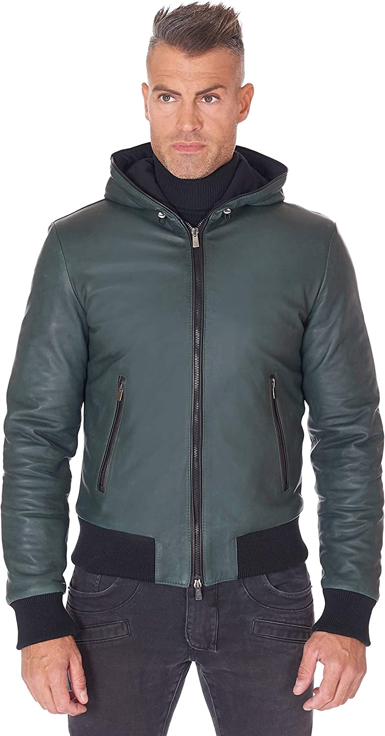 Green hooded natural lamb leather bomber jacket