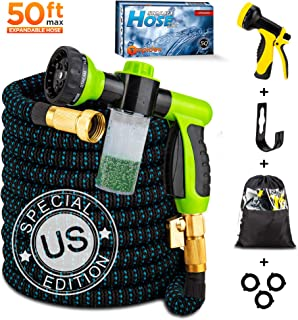 Topidex Expandable Garden Water Hose, 50 ft - Kit with High Pressure Spray Nozzle - Soap Dispensing Sprayer Gun - 9 Spray + 3 Foam Spraying Patterns with Storage Bag, Hanger & 3 Extra Washers