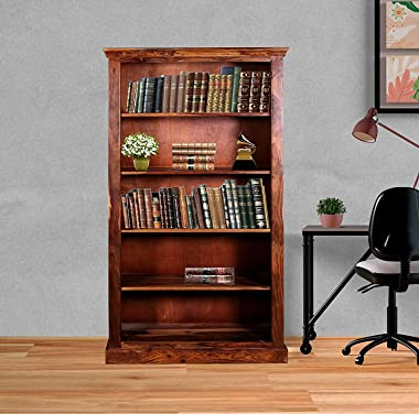 Furinno Ahna Solid Wood with Wooden Jali Five Shelf Book Case (Natural Finish)