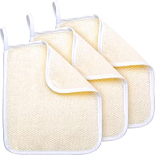 Exfoliating Face and Body Wash Cloths Towel Soft Weave Bath Cloth Exfoliating Scrub Cloth Massage Bath Cloth for Women and Man (3 Pack Exfoliating Side and Soft Terry Side Cloth)