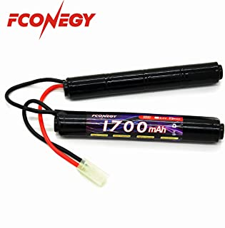 Fconegy NiMH Battery 9.6V 1700mAh 8-Cell Nunchuck Pack with Small Tamiya Plug for Airsoft Gun
