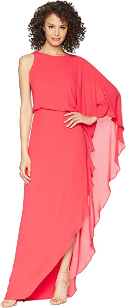Halston Heritage - Flowy One Sleeve Round Neck Gown w/ Back Cowl